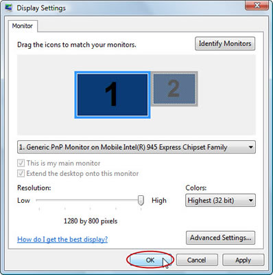 Apply the display changes in Vista's Display Settings dialog box.