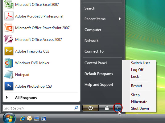 You can find several options for shutting down your PC from the Start menu.