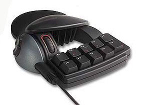 A game controller with a mini-keyboard.