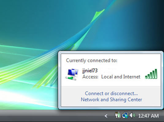 The taskbar shows you when your PC makes a wireless connection.
