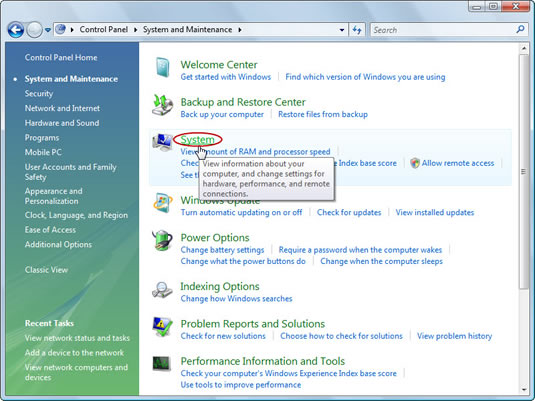 Opening the System icon in the Windows Control Panel.