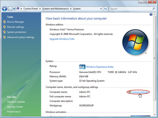 The Change Settings link in the System section of the Windows Control Panel.