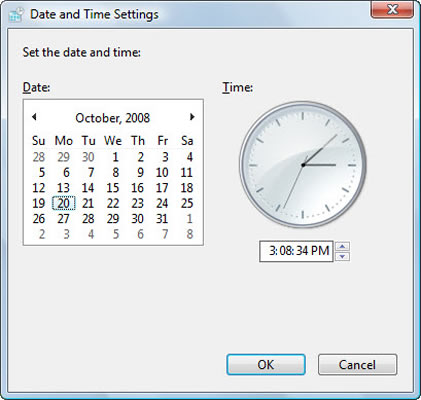 Setting the date and time on a PC