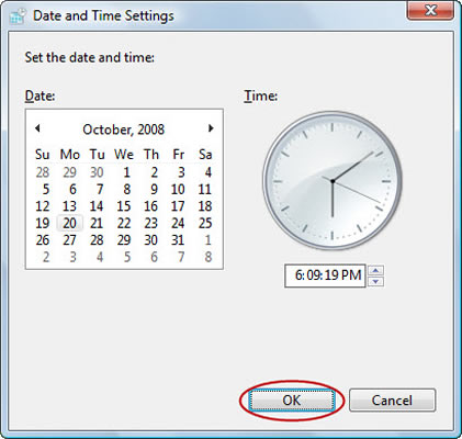 Changing the date and time on a PC.