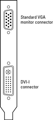 Most video cards offer both a VGA and a DVI-I connector.