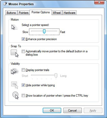Control your mouse's pointer using this dialog box.