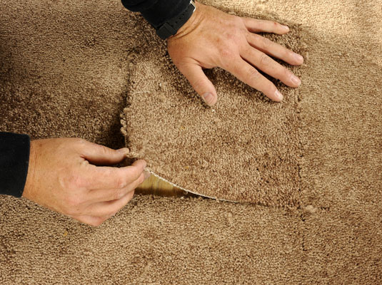 Setting a patch in a hole in the floor carpeting.