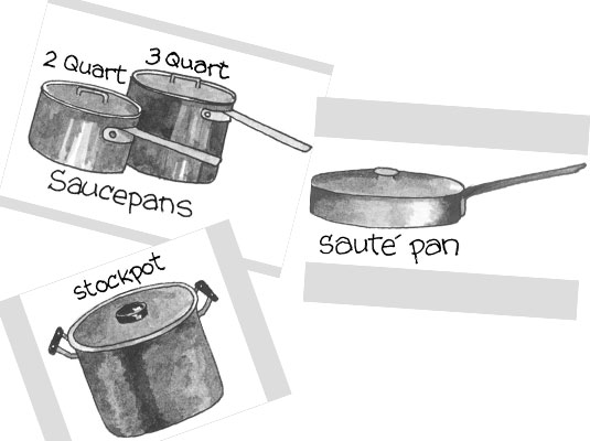 Drawing of a stockpot, a sauté pan and two saucepans.