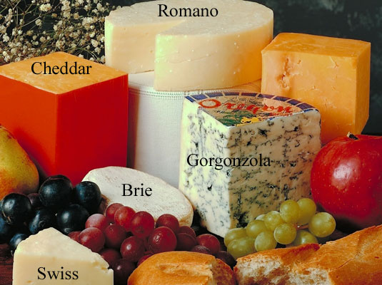 A plate with six different kinds of cheese.