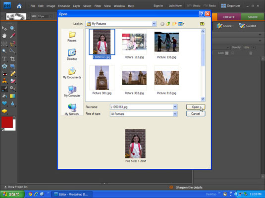 Open File dialog box in Photoshop allows users to select the image they want to edit.