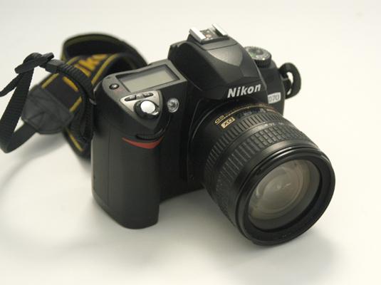 A single lens reflex digital camera (dSLR).