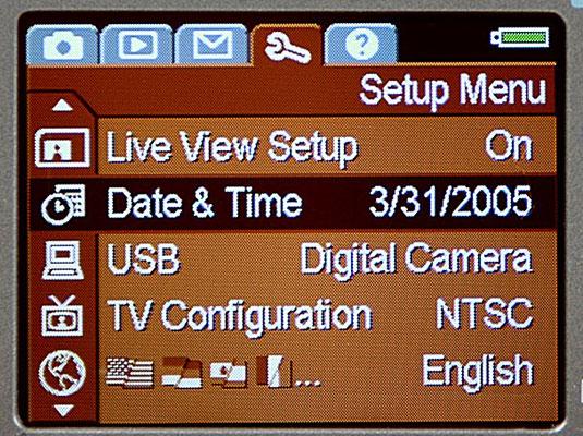 The Setup Menu in a digital camera.