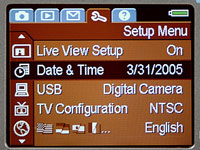 The Setup Menu in a digital camera.