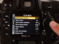 The automatic rotation option in a digital camera allows you to change the orientation of the photograph.