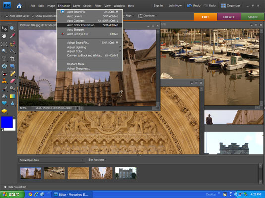 Color correcting images in a photo editor.