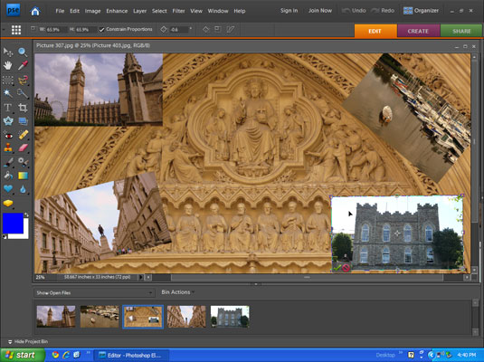 Resizing and rotating the images in a collage made in a photo editor.