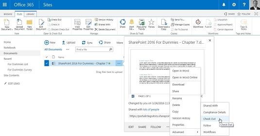 sharepoint context menu