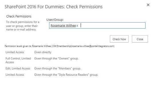 user permission sharepoint