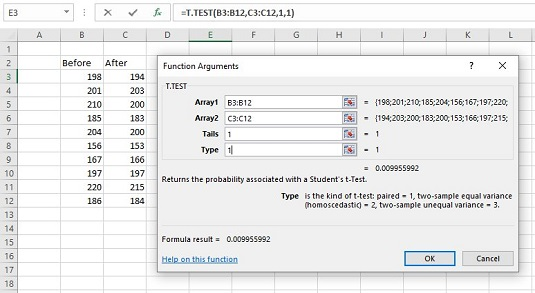 T Test Excel >> How To Use T Test For Matched Samples In Excel Dummies