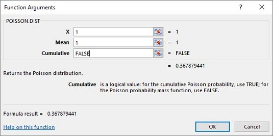 How to Use Excel's POISSON.DIST Function - dummies