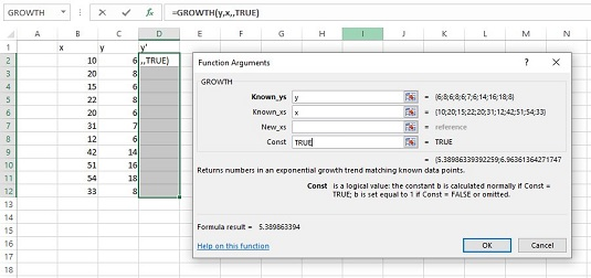 Excel Array Function: GROWTH for Statistical Analysis - dummies