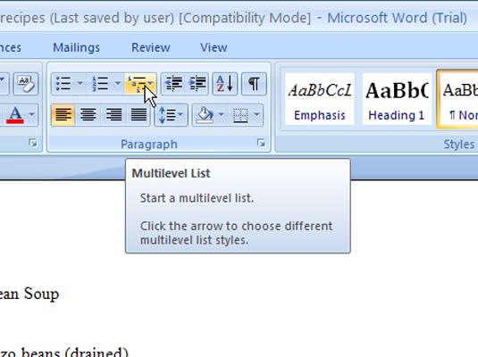 Numbering Headings In Word 2007 Multilevel Lists Dummies