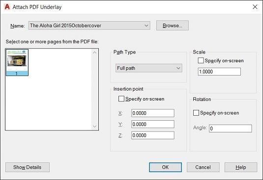 Attach PDF Underlay dialog box