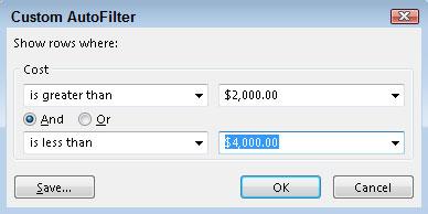 Custom AutoFilter dialog box.