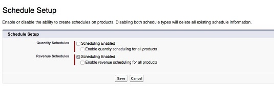 Enable schedules