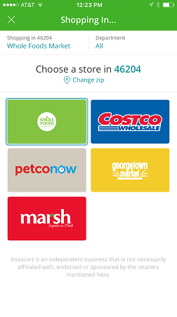 Some of the stores available on Instacart