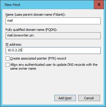 New Host dialog box