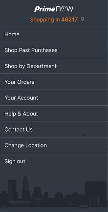 The main menu in Prime Now's app.