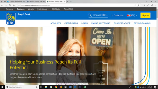 Website of Royal Bank of Canada