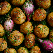 Roasted potatoes and onions.
