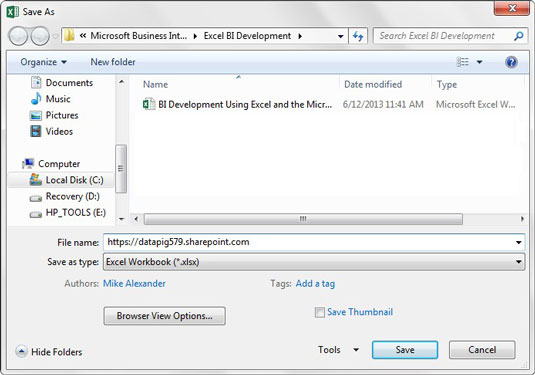 Publish an Excel Workbook to SharePoint - dummies