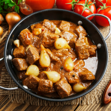 A pan of beef stew.