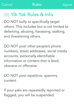 Yik Yak Rules and info.
