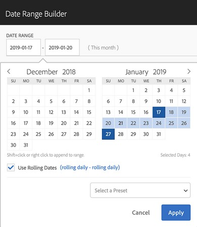 defining date range in Adobe dimensions