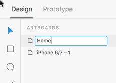 changing artboard name Adobe XD