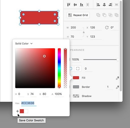 color picker Adobe XD