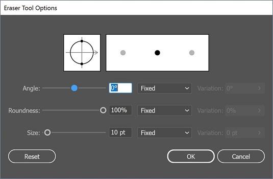 eraser options Illustrator