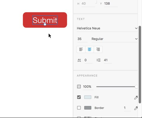 text section properties panel Adobe XD