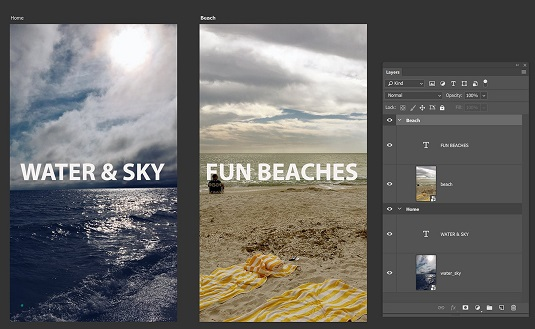 two artboards Photoshop CC