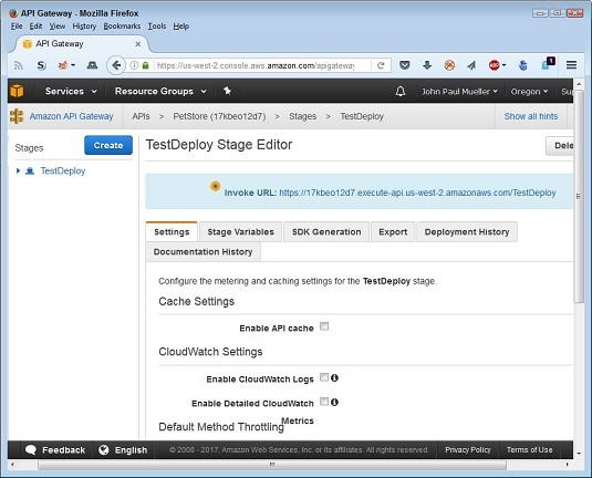 API configuration settings