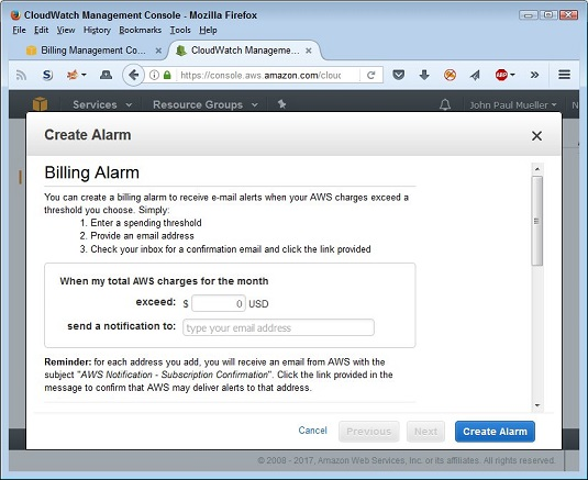 Create AWS billing alarm