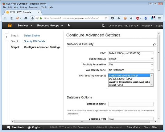 database details AWS