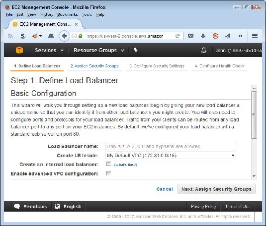 load balancer settings AWS
