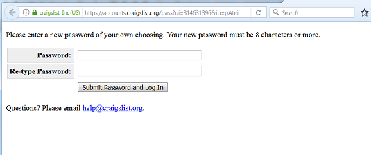 create craigslist password