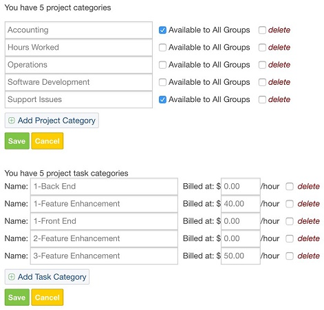 CRM categories manager