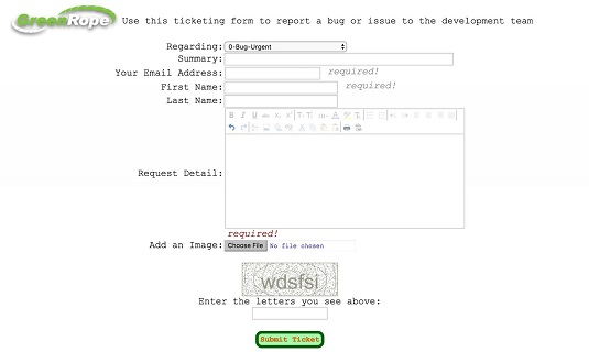 CRM internal ticketing form